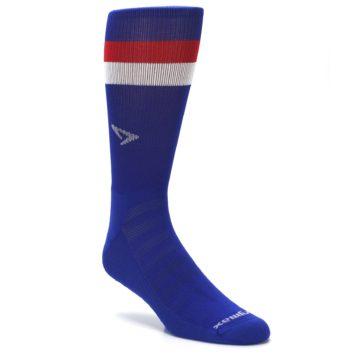Image of Blue Red Stripe Men's Athletic Crew Socks (side-1-27)