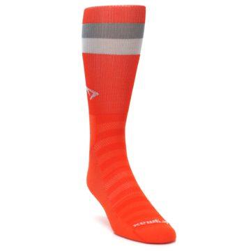 Image of Orange Gray Stripe Men's Athletic Crew Socks (side-1-front-02)