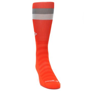 Image of Orange Gray Stripe Men's Athletic Crew Socks (side-1-front-03)