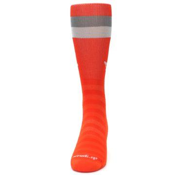Image of Orange Gray Stripe Men's Athletic Crew Socks (front-05)