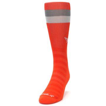 Image of Orange Gray Stripe Men's Athletic Crew Socks (side-2-front-06)