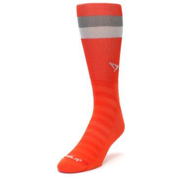 Image of Orange Gray Stripe Men's Athletic Crew Socks (side-2-front-07)