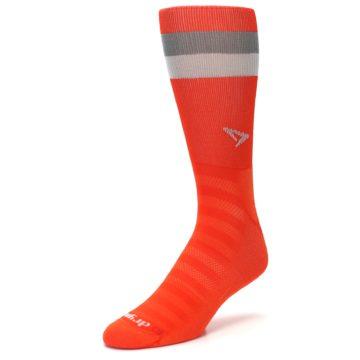 Image of Orange Gray Stripe Men's Athletic Crew Socks (side-2-front-08)