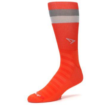 Image of Orange Gray Stripe Men's Athletic Crew Socks (side-2-09)
