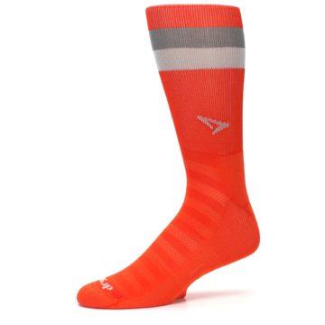 Image of Orange Gray Stripe Men's Athletic Crew Socks (side-2-10)