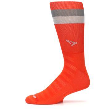 Image of Orange Gray Stripe Men's Athletic Crew Socks (side-2-11)