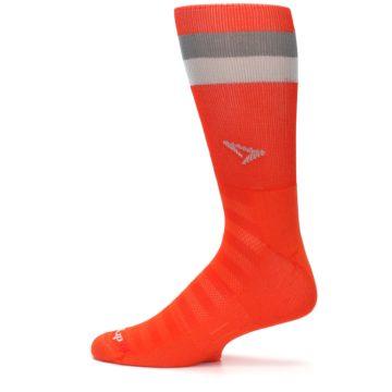 Image of Orange Gray Stripe Men's Athletic Crew Socks (side-2-12)