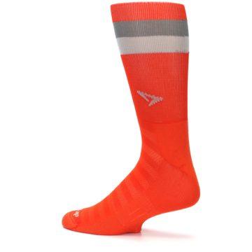 Image of Orange Gray Stripe Men's Athletic Crew Socks (side-2-13)