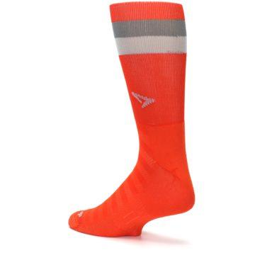 Image of Orange Gray Stripe Men's Athletic Crew Socks (side-2-back-14)
