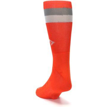 Image of Orange Gray Stripe Men's Athletic Crew Socks (side-2-back-16)