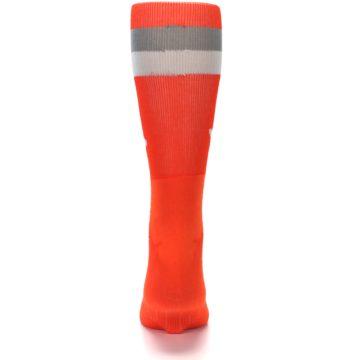 Image of Orange Gray Stripe Men's Athletic Crew Socks (back-18)