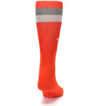 Image of Orange Gray Stripe Men's Athletic Crew Socks (back-19)