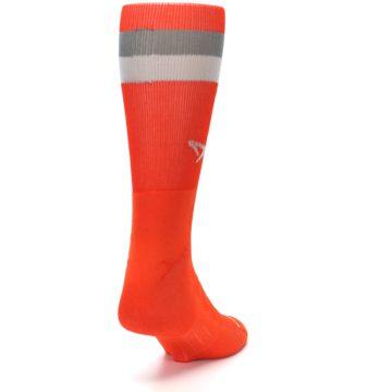 Image of Orange Gray Stripe Men's Athletic Crew Socks (side-1-back-20)