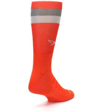 Image of Orange Gray Stripe Men's Athletic Crew Socks (side-1-back-21)