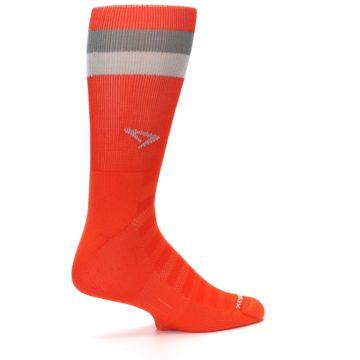 Image of Orange Gray Stripe Men's Athletic Crew Socks (side-1-23)