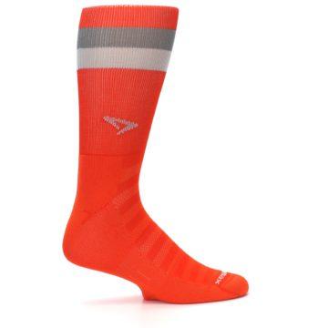 Image of Orange Gray Stripe Men's Athletic Crew Socks (side-1-24)