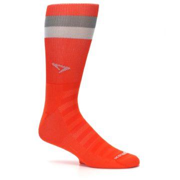 Image of Orange Gray Stripe Men's Athletic Crew Socks (side-1-25)