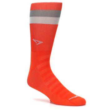 Image of Orange Gray Stripe Men's Athletic Crew Socks (side-1-26)