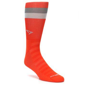 Image of Orange Gray Stripe Men's Athletic Crew Socks (side-1-27)