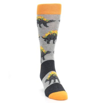 Image of Gray Orange Nachosaurus Men's Dress Socks (side-1-front-03)