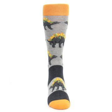 Image of Gray Orange Nachosaurus Men's Dress Socks (front-04)