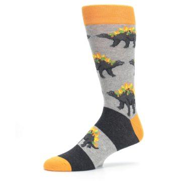 Image of Gray Orange Nachosaurus Men's Dress Socks (side-2-10)