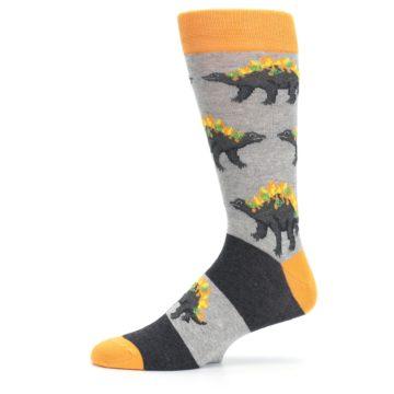 Image of Gray Orange Nachosaurus Men's Dress Socks (side-2-11)