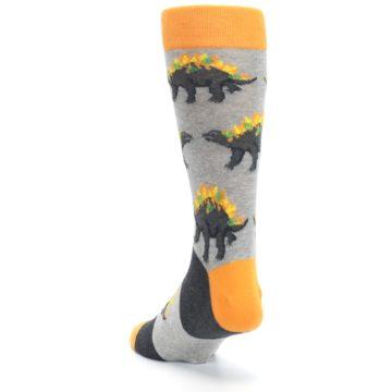 Image of Gray Orange Nachosaurus Men's Dress Socks (side-2-back-16)