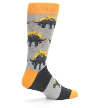 Image of Gray Orange Nachosaurus Men's Dress Socks (side-1-23)