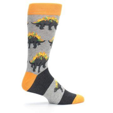 Image of Gray Orange Nachosaurus Men's Dress Socks (side-1-24)