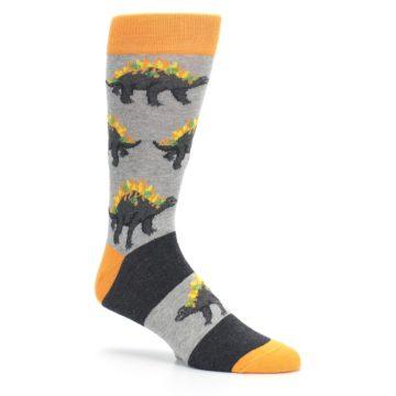 Image of Gray Orange Nachosaurus Men's Dress Socks (side-1-26)