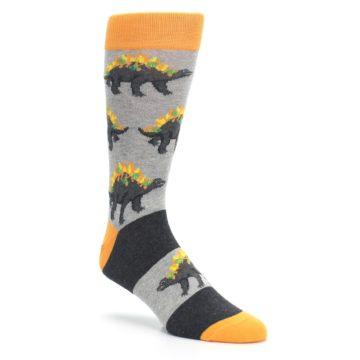 Image of Gray Orange Nachosaurus Men's Dress Socks (side-1-27)
