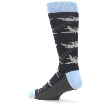 Image of Gray Land the Plane Airplane Men's Dress Socks -1
