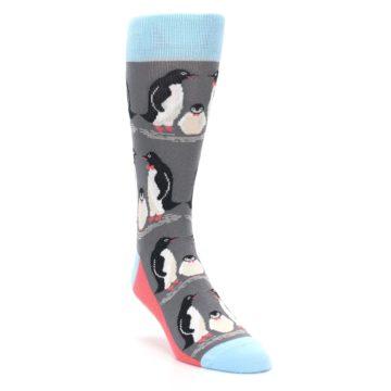 Image of Gray Blue Penguins Family Men's Dress Socks (side-1-front-02)