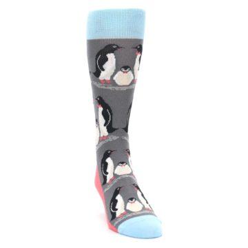 Image of Gray Blue Penguins Family Men's Dress Socks (side-1-front-03)