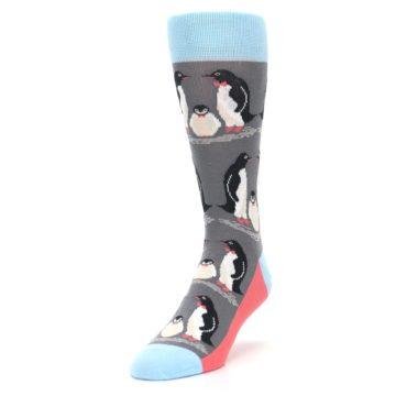 Image of Gray Blue Penguins Family Men's Dress Socks (side-2-front-07)