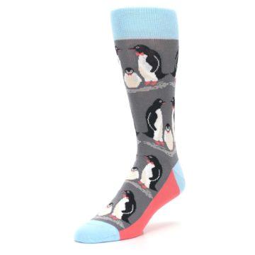 Image of Gray Blue Penguins Family Men's Dress Socks (side-2-front-08)