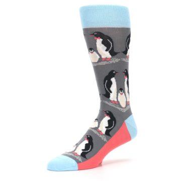 Image of Gray Blue Penguins Family Men's Dress Socks (side-2-09)