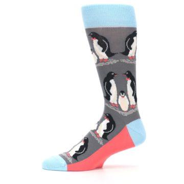Image of Gray Blue Penguins Family Men's Dress Socks (side-2-11)