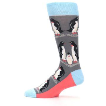Image of Gray Blue Penguins Family Men's Dress Socks (side-2-12)