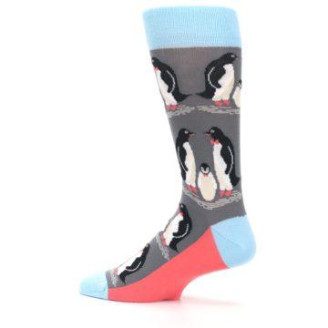 Image of Gray Blue Penguins Family Men's Dress Socks (side-2-13)