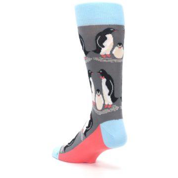 Image of Gray Blue Penguins Family Men's Dress Socks (side-2-back-15)