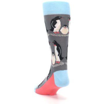 Image of Gray Blue Penguins Family Men's Dress Socks (side-2-back-16)