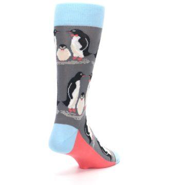 Image of Gray Blue Penguins Family Men's Dress Socks (side-1-back-21)