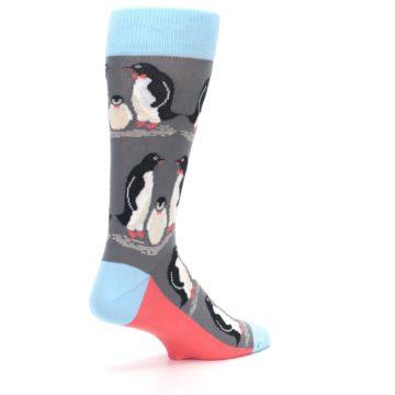 Image of Gray Blue Penguins Family Men's Dress Socks (side-1-back-22)