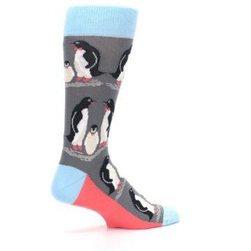 Image of Gray Blue Penguins Family Men's Dress Socks (side-1-23)