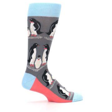 Image of Gray Blue Penguins Family Men's Dress Socks (side-1-24)