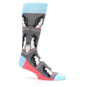 Image of Gray Blue Penguins Family Men's Dress Socks (side-1-25)