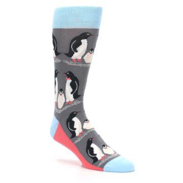Image of Gray Blue Penguins Family Men's Dress Socks (side-1-27)