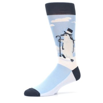 Image of Light Blue Slick Penguin Men's Dress Socks -1